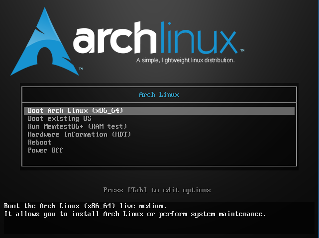 Boot do Live CD do Arch Linux