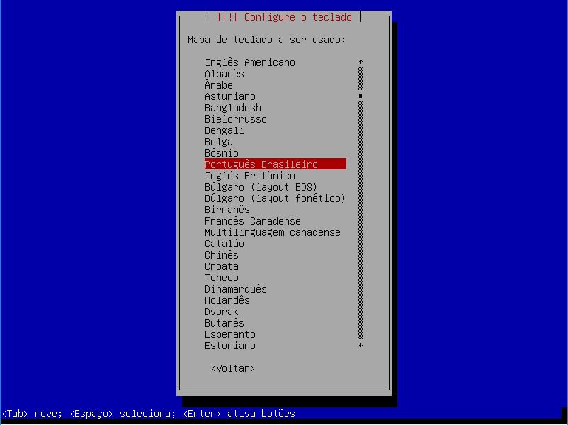 Configuração de layout de teclado