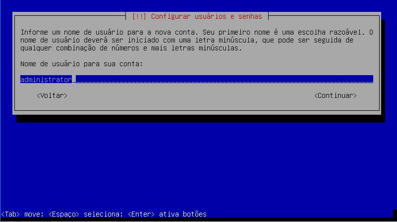 Configuração de usuários e senhas