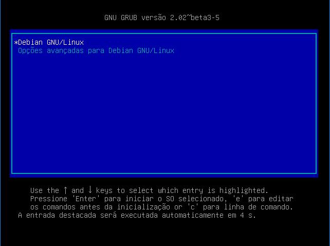 Primeiro boot pós instalação