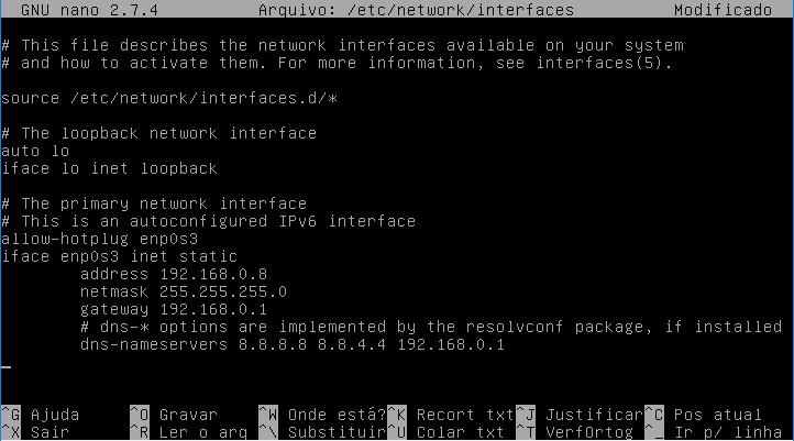 Aspecto do arquivo interfaces após edição