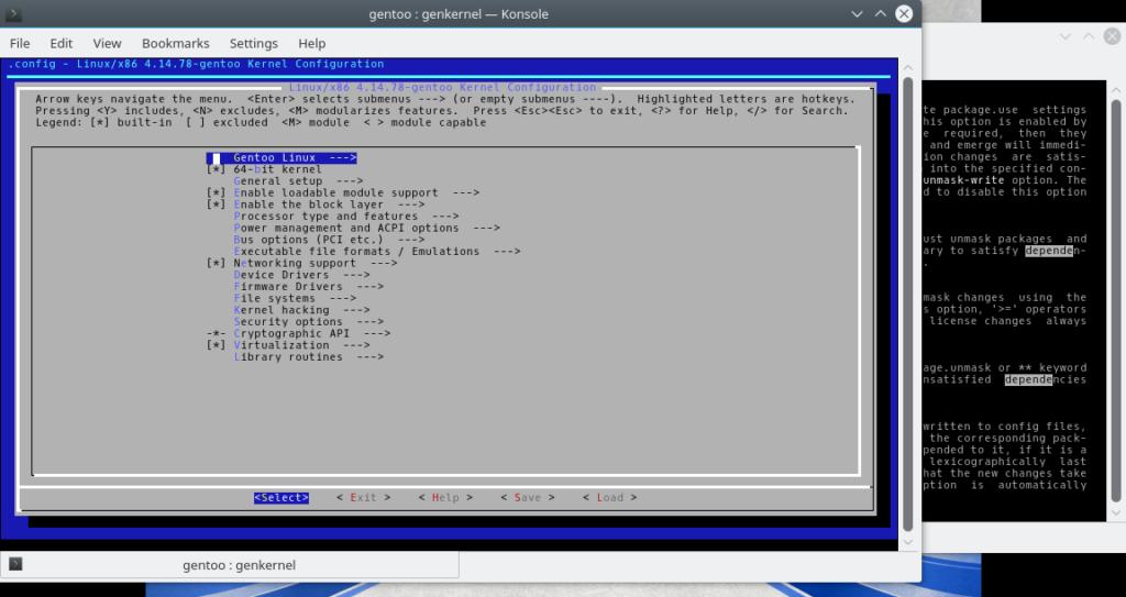 Figura 1: Menu de configuração de kernel do genkernel