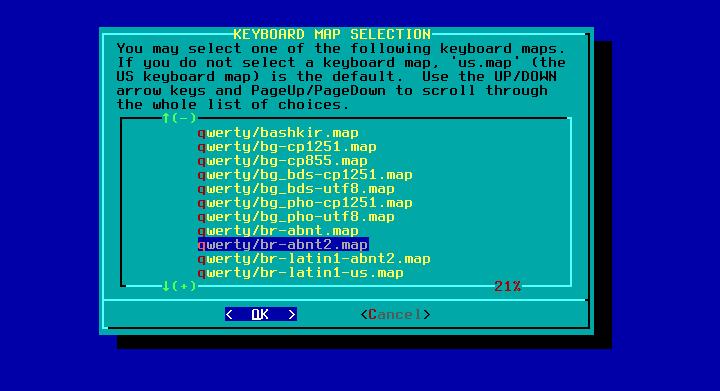 Figura 3: Menus de mapas de teclado
