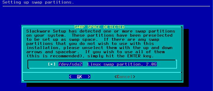 Figura 13: Detecção e confirmação do local de swap