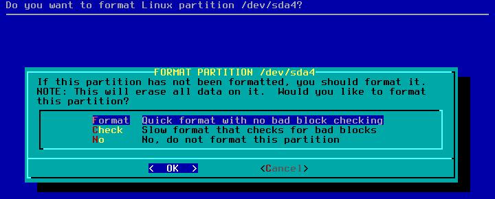 Figura 16: Formatação com ou sem teste de bad-blocks