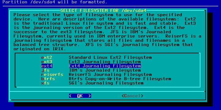 Figura 17: Seleção de tipo de sistema de arquivos a utilizar