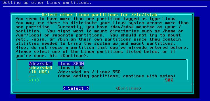 Figura 18: Indicação de partições adicionais (/boot)