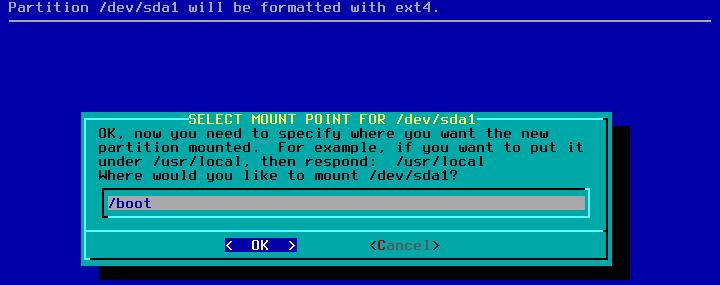 Figura 20: Indicação de ponto de montagem da partição boot