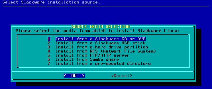 Figura 24: Seleção da origem para instalação do slackware