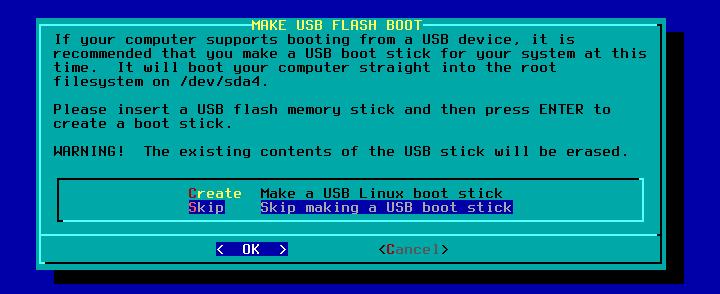 Figura 32: Criação ou não de Flash Disk de boot