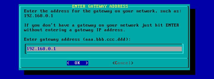 Figura 73: Endereço IP do gateway para a rede