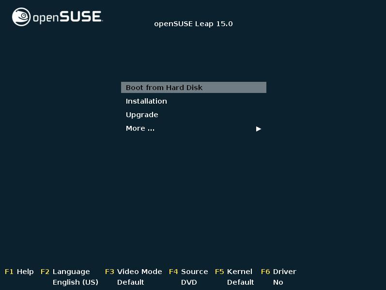 Figura 1: Boot do DVD de instalação do openSUSE