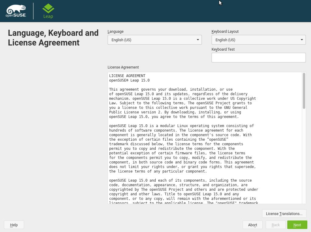 Figura 3: Configuração de idioma e layout de teclado