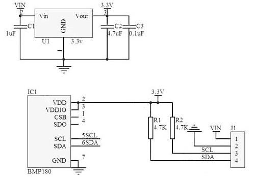 esquema interno do módulo GY-68