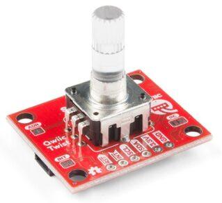 Fotografia de um módulo codificador rotativo incremental de eixo com iluminação por LED RGB e sinalização por comunicação I²C