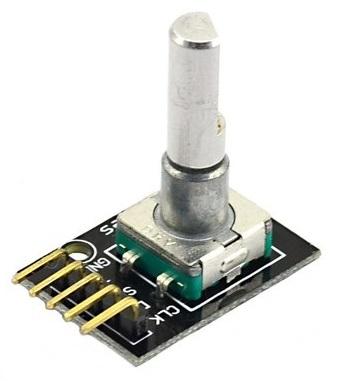 Fotografia de um popular módulo HW-040, codificador rotativo incremental com botão de pressão acoplado ao eixo