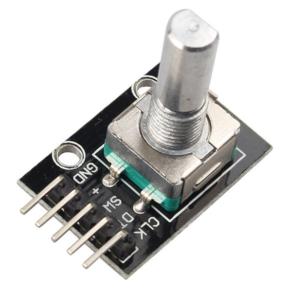 Fotografia de um popular módulo KY-040, codificador rotativo incremental com botão de pressão acoplado ao eixo