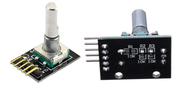 Fotografia perspectiva e vista inferior (mostrando a montagem dos resistores de PULL-UP) do módulo HW-040 ou KY-040 (suas construções são quase idênticas)
