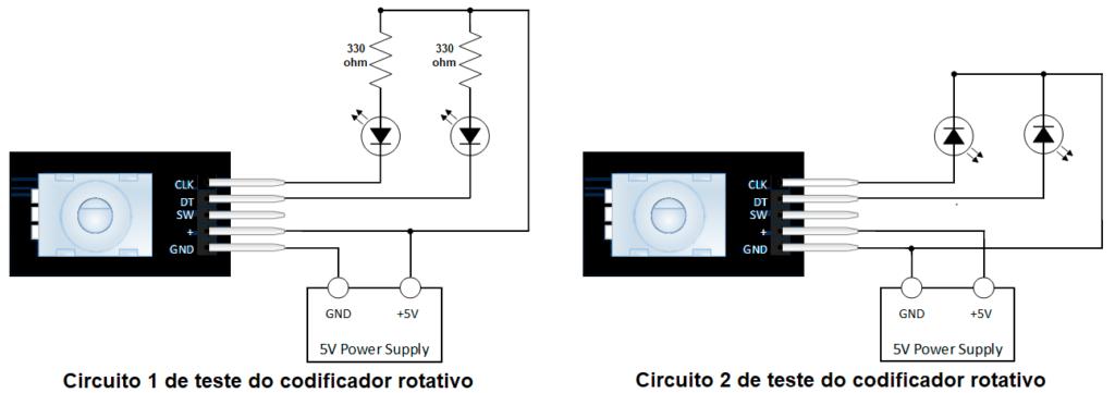 Diagrama de ligações para duas modalidades de teste do módulo. Mais à esqueda os LEDs acendem quando o sinal correspondente é baixo (0 lógico), e à direita os LEDs acendem (fraco) quando o sinal correspondente é alto (1 lógico).