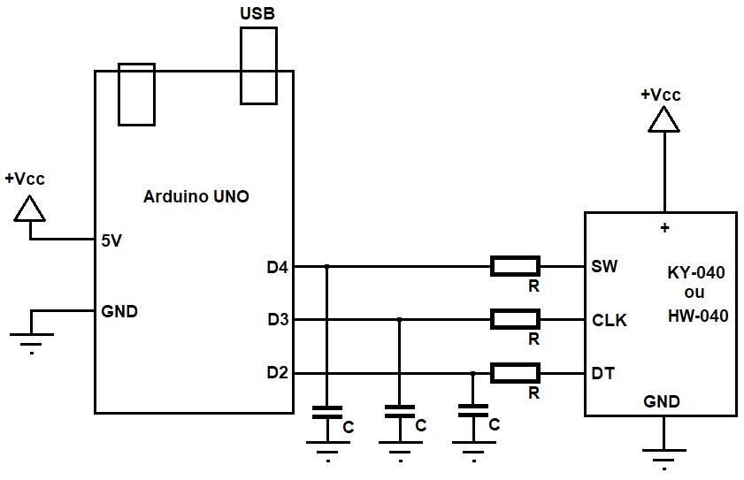 Representação esquemática das conexões entre um Arduino UNO R3 e o módulo de codificador rotativo (seja HW-040 ou KY-040), incluíndo resistores e capacitores para eminizar, ou mesmo eliminar, o efeito de repique