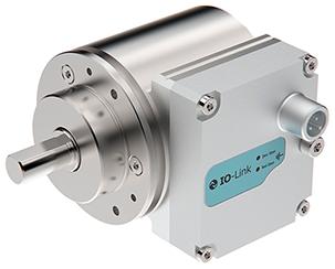 Fotografia de um Codificador Rotativo Absoluto Multivoltas com transmissão de sinal em série da marca IO-Link.